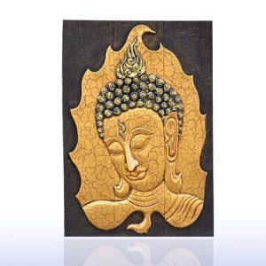 gỗ tếch  chạm khắc lá vàng Bồ Đề mặt phật may mắn