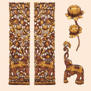 khắc gỗ nghệ thuật hoa sen +voi