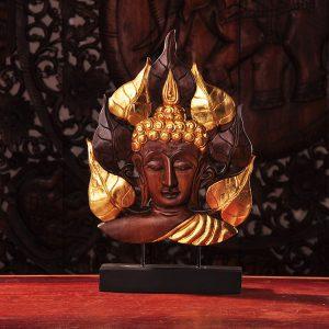 gỗ khắc lá vàng bồ đề mặt phật