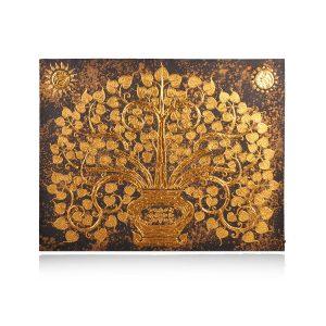 tranh sơn lá bồ đề vàng cao cấp