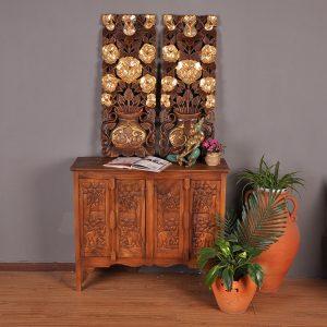 khắc gỗ treo tường hoàng hoa mai ánh kim