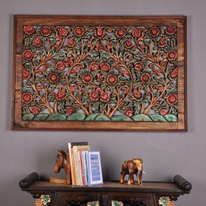 khắc gỗ hoa cúc vuông treo tường.