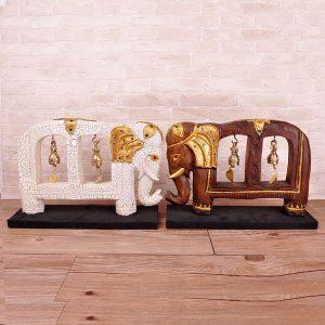 khắc gỗ tếch chuông đồng hình voi may mắn