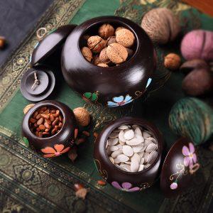 hộp trà bằng gỗ sơn phong cách thái lan.