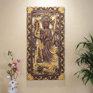 khắc gỗ  phật bà quan thế âm bồ tát.