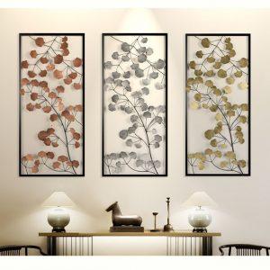 bộ 3 tranh lá mùa thu treo tường ánh kim