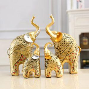 Tượng gia đình nhà voi ( mầu đồng)