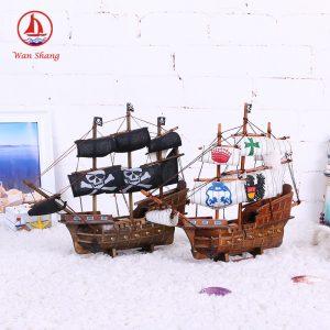 Thuyền buồm đen 33cm mô hình tàu cướp biển bằng gỗ thủ công- HÀNG ODER